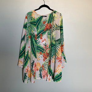 Boohoo tropical bell sleeve swim cover up